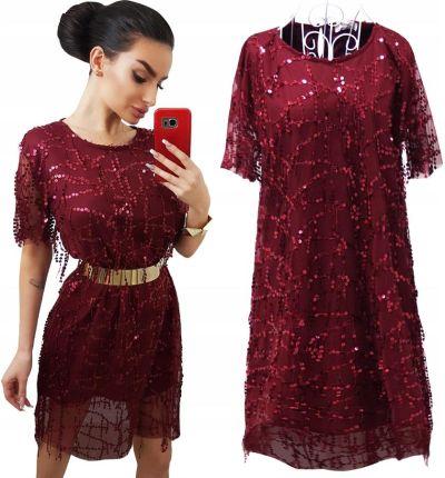 58448e0ca5 Sukienka Luźna Kobieca Mini Cekiny Modna Allegro