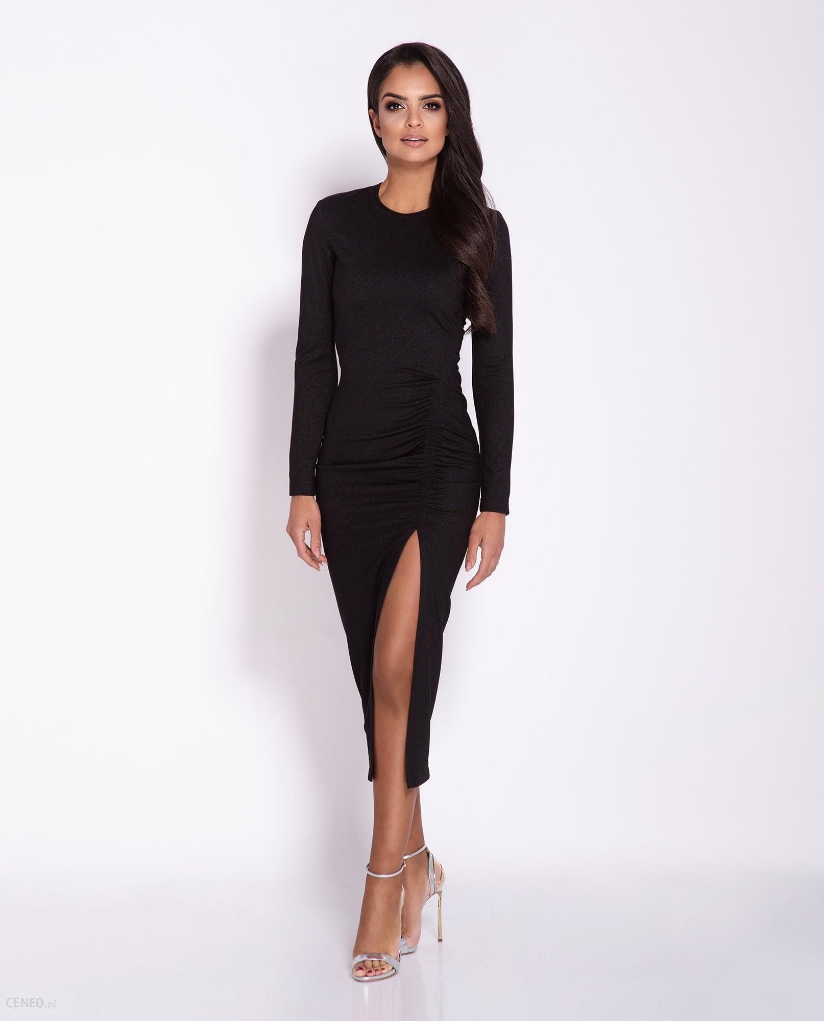 Sukienka MIDI Malaga z rozcięciem długi rękaw czarna, Rozmiar: XLy Ceny i opinie Ceneo.pl