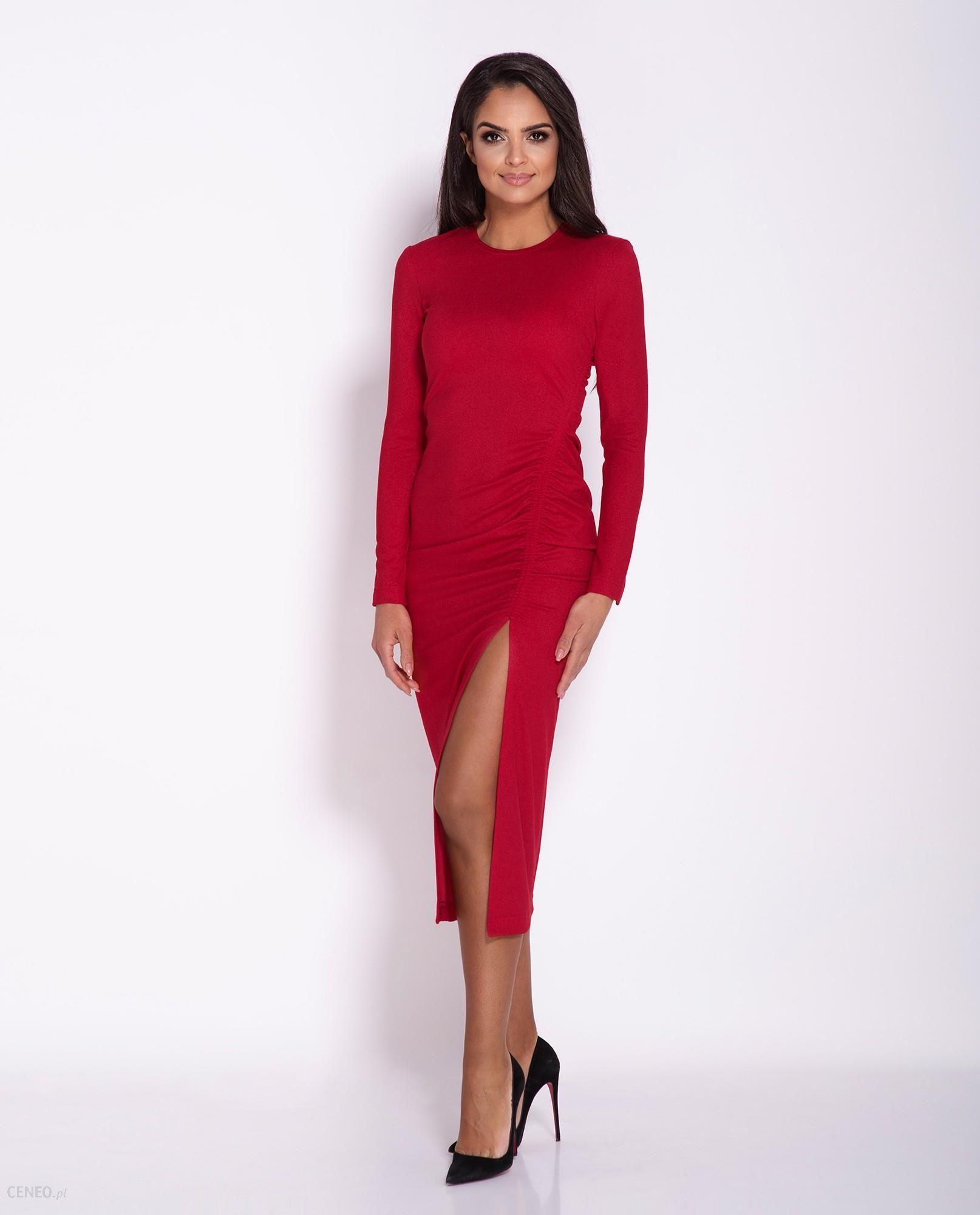 Sukienka MIDI Malaga z rozcięciem długi rękaw czerwona, Rozmiar: XS Ceny i opinie Ceneo.pl