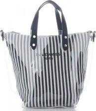 396d3388ef4f3 David Jones Unikatowe Transparentne Torebki Damskie w modne paski  ShopperBag marki David Jones Granat (kolory