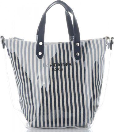65adcefbca5d1 David Jones Unikatowe Transparentne Torebki Damskie w modne paski  ShopperBag marki David Jones Granat (kolory ...