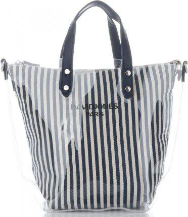 193cf8c7abbd0 David Jones Unikatowe Transparentne Torebki Damskie w modne paski  ShopperBag marki David Jones Granat (kolory ...