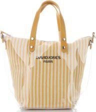 41d43d5823599 David Jones Unikatowe Transparentne Torebki Damskie w paski ShopperBag  marki David Jones Żółty (kolory) ...