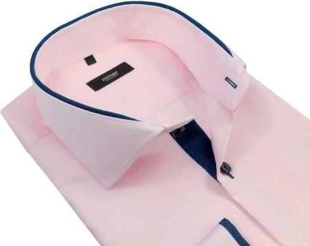 828543b83c0f44 Różowa koszula męska z granatowymi kontrastami 887 - Długi rękaw