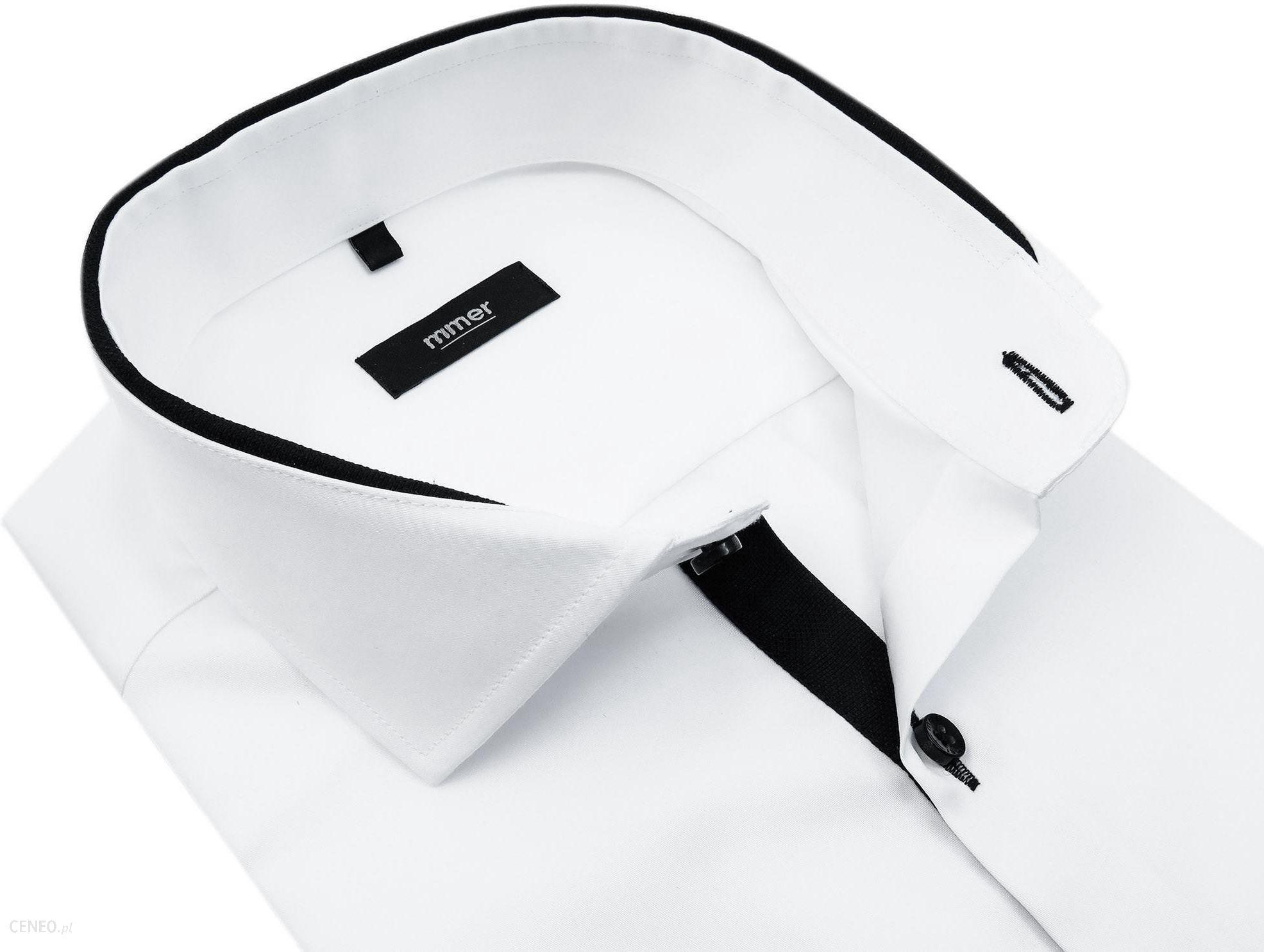 Biała koszula z długim rękawem czarne kontrasty 889 Ceny  YSKwj
