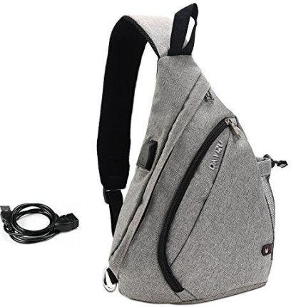 770cd388ff537 Amazon Vbiger torba na piersi torba na ramię męska Sling plecak outdoor  torba na piersi sportowa torba na ramię z kablem USB i przyłączem  ładowania