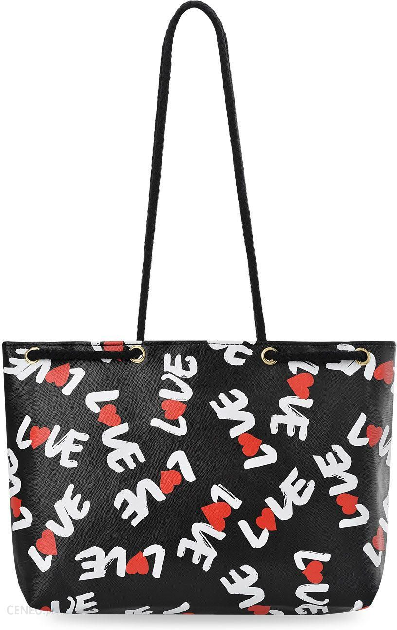 c40e9a49947ac Lekka torba zakupowa z nadrukiem torebka damska shopperka na zamek tote bag  print - czarny -