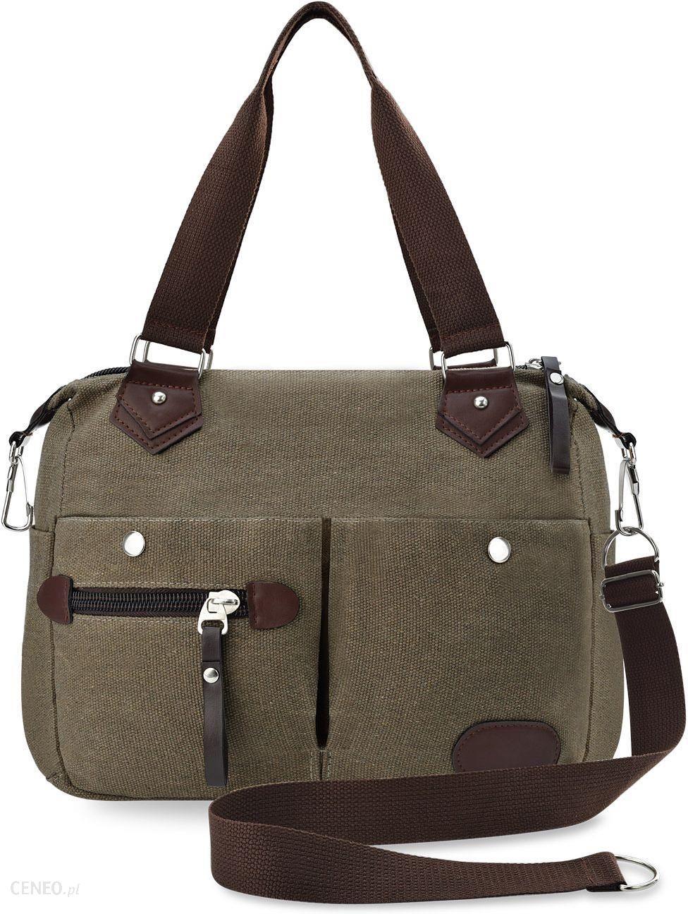 703919d75c567 Solidna lniana torba na ramię płócienna torebka damska luźna shopperka z  kieszonkami - khaki - zdjęcie