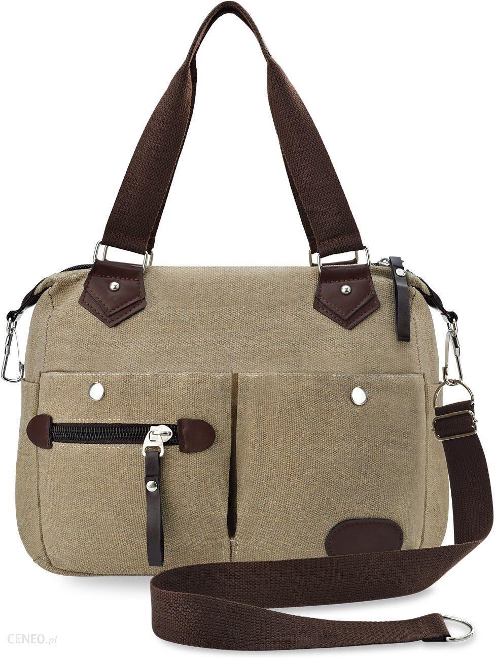 737f132018dcd Solidna lniana torba na ramię płócienna torebka damska luźna shopperka z  kieszonkami - beżowy - zdjęcie