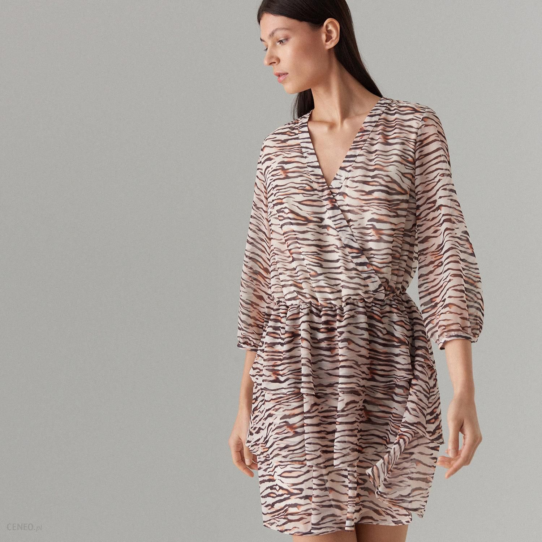 4c7ea2579e Mohito - Kopertowa sukienka z motywem zwierzęcym - Beżowy - Ceny i ...