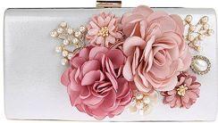 7f3662cd07d96 Amazon KAXIDY elegancka torebka wieczorowa kwiaty kopertówka torebka  wieczorowa torebka weselna - srebrny -