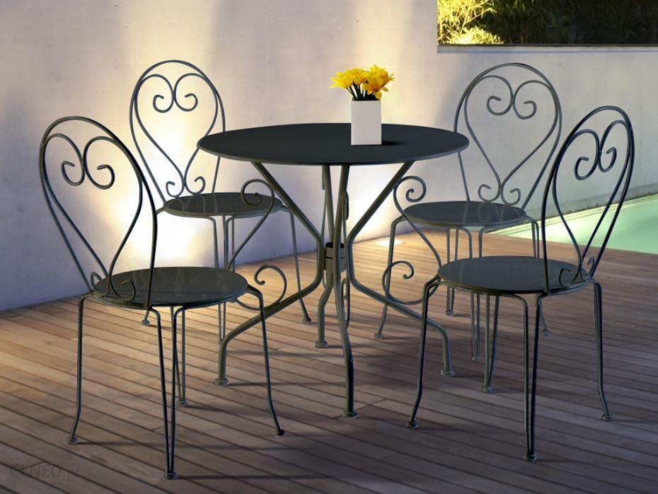 Zestaw Mebli Ogrodowych Vente Unique Jadalnia Ogrodowa Z Kutego żelaza Guermantes Stół I 4 Krzesła Antracytowy Ceny I Opinie Ceneopl