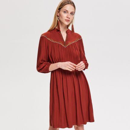 fbcf68cce Reserved - Rozkloszowana sukienka - Bordowy RESERVED.com. Reserved -  Rozkloszowana sukienka - Bordowy 59,99zł. F056 Długa sukienka Maxi dekolt  Woda Allegro