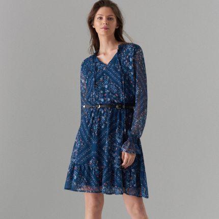 a6fea17fda Mohito - Sukienka w kwiaty z wiązaniem - Niebieski Mohito