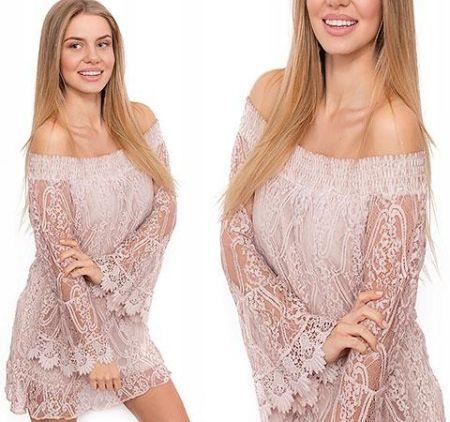 4580890f88 Urocza Szykowna Koronkowa Sukienka Tunika Uni P931 Allegro