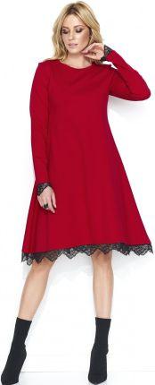 8197245309 Style Rozkloszowana sukienka midi z klapami i kopertowym dekoletm ...