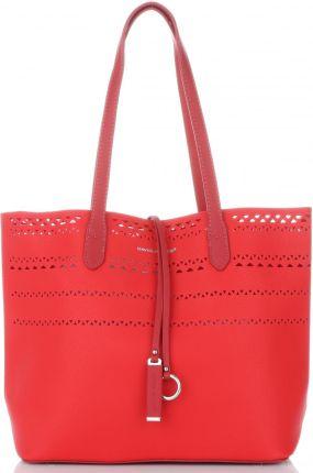 12b7dc6b7a767 Firmowe Torebki Damskie David Jones Modny Ażurowany Shopper w rozmiarze XL  z kosmetyczką Czerwony (kolory ...