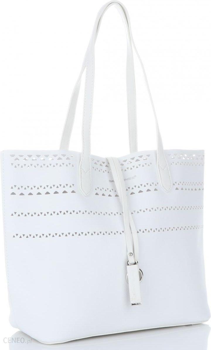 46ea6b378629b Firmowe Ażurowe Torebki Damskie XL Shopper z kosmetyczką marki David Jones  Biały (kolory) -