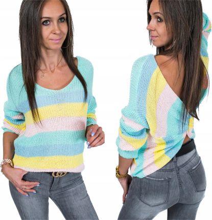 4dc9384ca3 Sweter ażurowy w wielokolorowy 40 42 L XL 945626 - Ceny i opinie ...