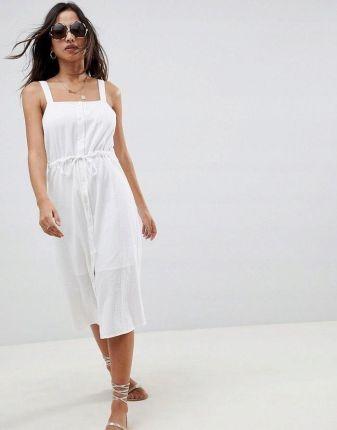52a6065198 Aso Design Biała letnia sukienka wiązany pas (42) Allegro