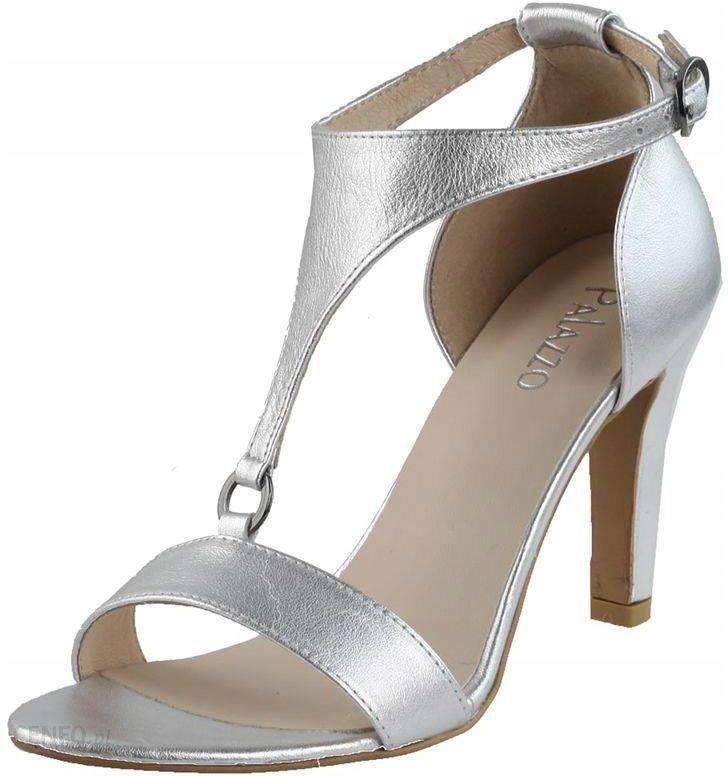 Eleganckie sandały na obcasie, w kwiaty,srebrne 39