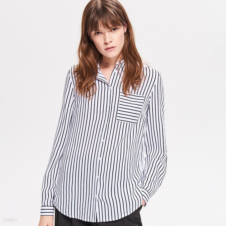 Reserved Długa koszula w paski Biały Ceny i opinie  WQut1