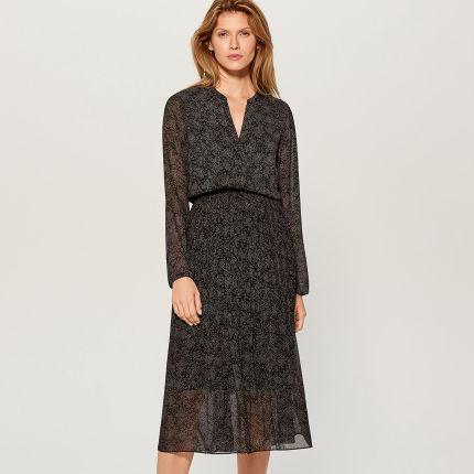b7ebe30f77 Mohito - Szyfonowa sukienka midi w kropki - Czarny Mohito