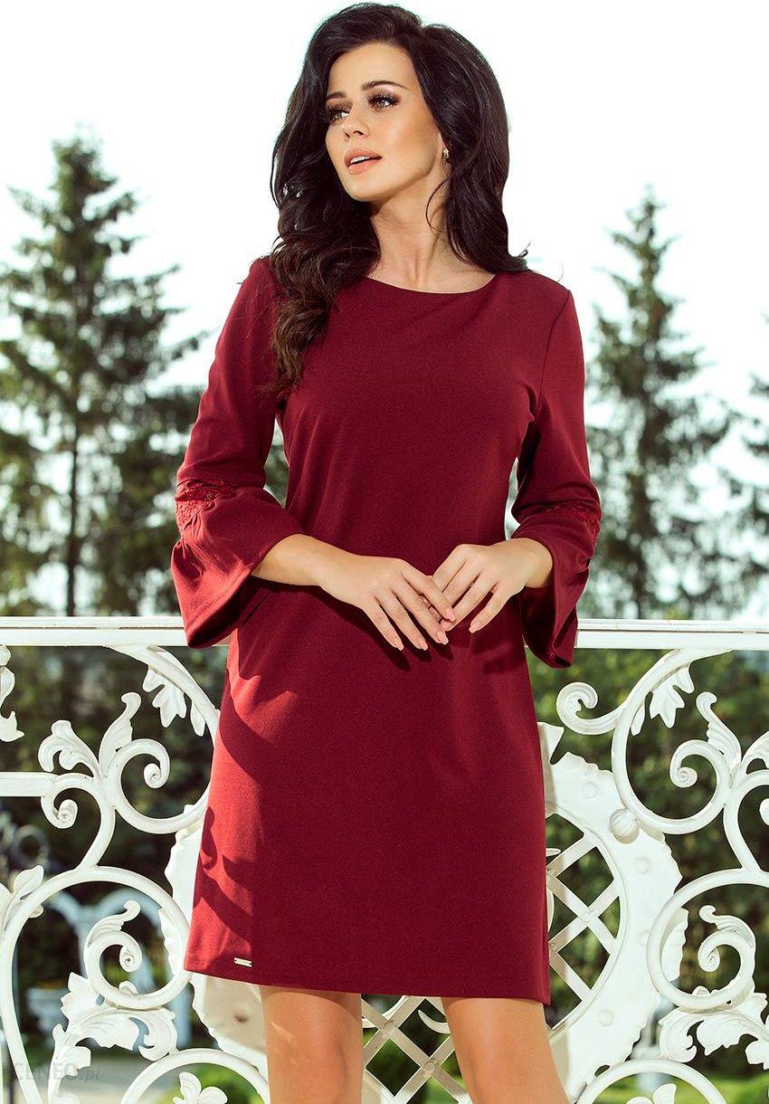 a9a137ce47 Bordowa luźna sukienka z efektownymi rozkloszowanymi rękawami XL XXL Sukienka  trapezowa Polski Producent - zdjęcie