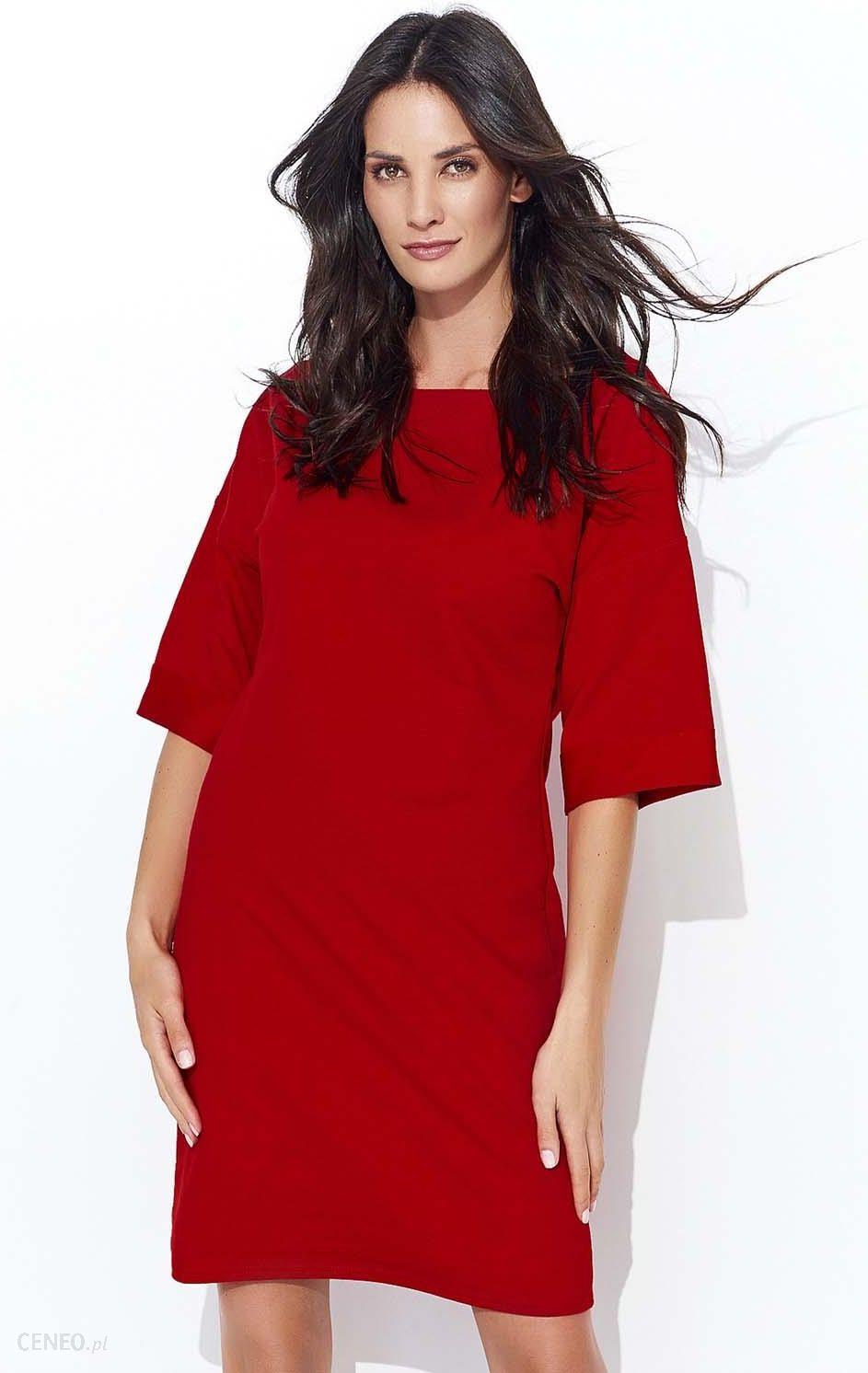 4c1d6c9ce9 Makadamia Czerwona Dresowa Sukienka z Szerokim Rękawem do Łokcia - zdjęcie 1