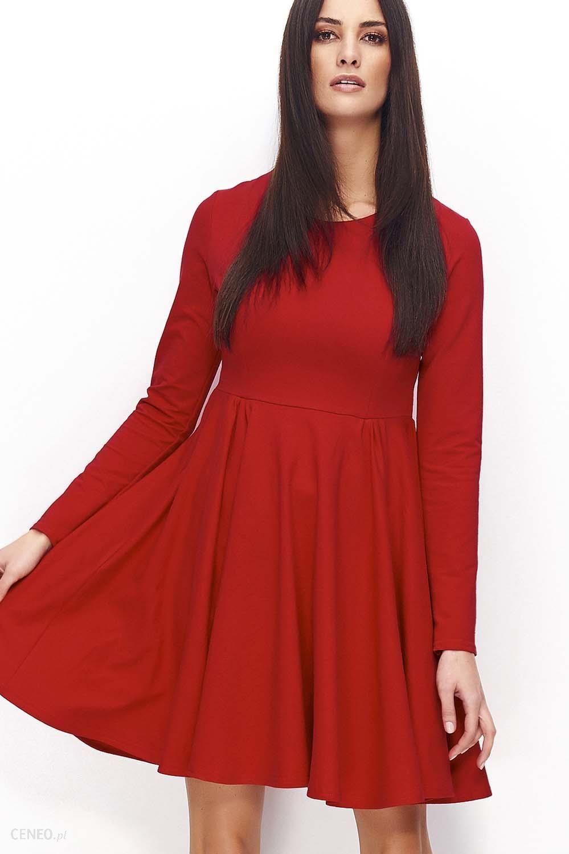 a9cdb4dcb3 Makadamia Czerwona Klasyczna Rozkloszowana Sukienka Dzianinowa z Długim  Rękawem - zdjęcie 1