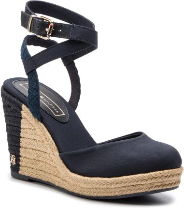 Espadryle TOMMY HILFIGER - Printed Closed Toe Wedge Sandal FW0FW03932  Midnight 403 eobuwie dbd2d9916db