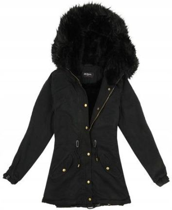 12e5ff05f54f5 Damska zimowa kurtka czarna parka bawełna 1860 M Allegro
