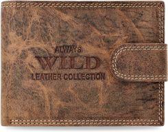 225e65df6e065 Portfel męski z zapinką wild postarzana skóra naturalna retro vintage -  brązowo-beżowy