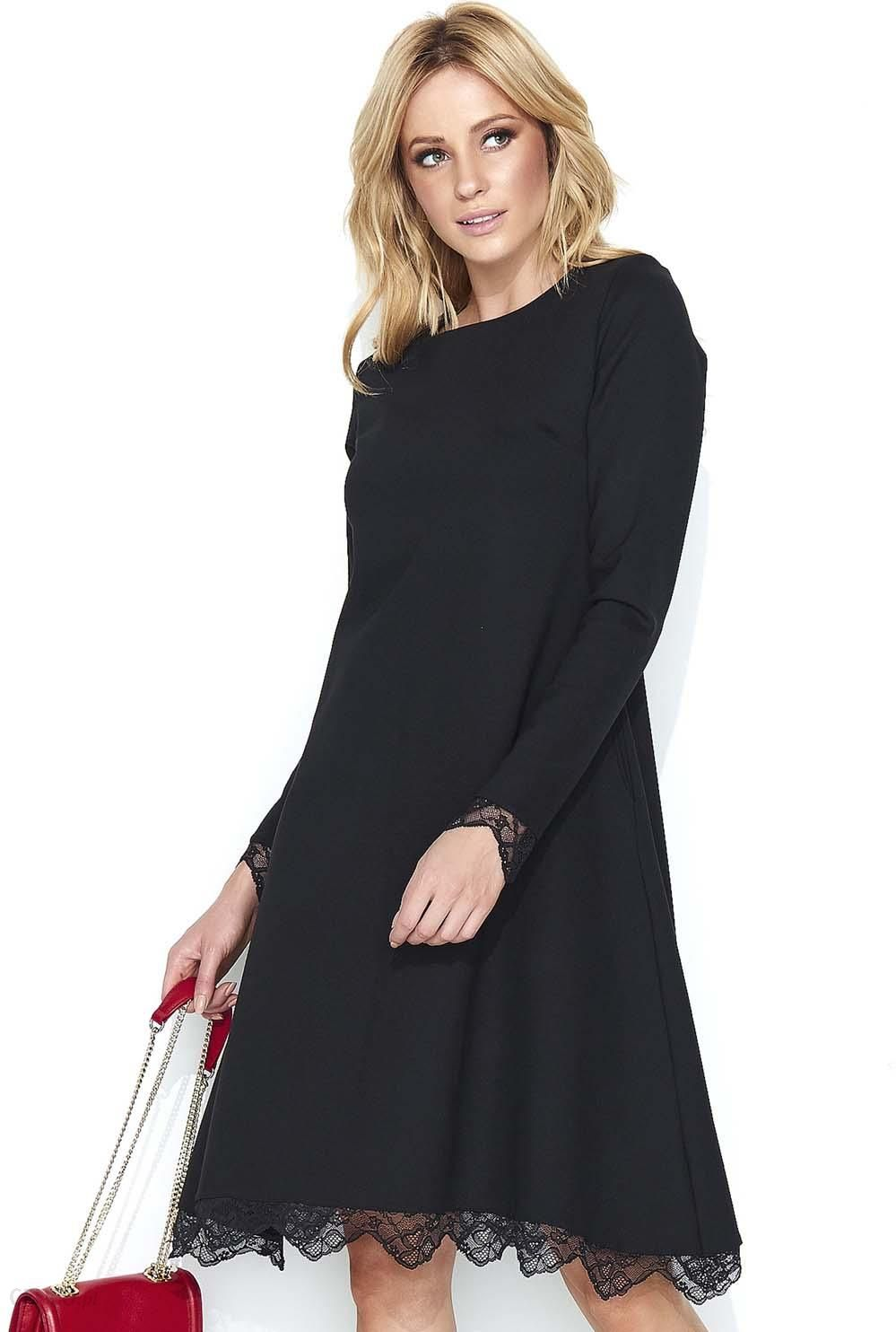 ef3dd65fbb Makadamia Czarna Elegancka Sukienka do Kolan Wykończona Koronką - zdjęcie 1