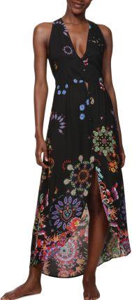 cfaa355cb39ea Desigual czarna sukienka Vest Magda z kolorowymi motywami - S