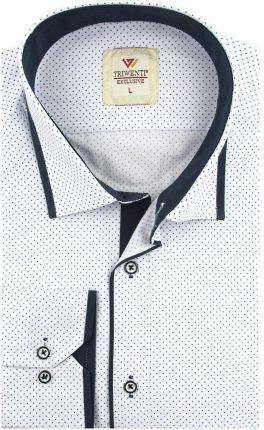 8362de8e5e8c48 Koszula Męska Triwenti biała w kropki SLIM FIT na długi rękaw D963 - 40/41