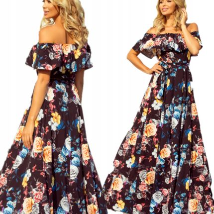 b9fcd7c16b Wiosenna letnia sukienka kolorowe kwiaty 194-3 Xs Allegro