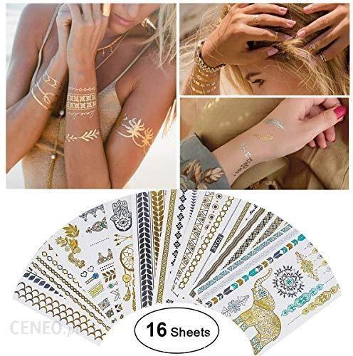 Amazon Tatuaż Wodoodporny Metaliczny Tatuaż Tymczasowy 16 Arkuszy W Kolorze Złotym I Srebrnym Naklejka Na Ciało Fałszywa Biżuteria Ponad 200 Wz