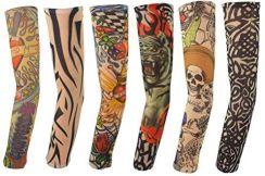 Amazon Tymczasowe Tatuaże Rękawy Fałszywe Tatuaże Skórzane Sztuka Ciała Ochrona Przeciwsłoneczna Ramiona Rajstopy Akcesoria 6 Sztuk Ceneopl