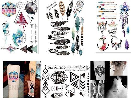 Amazon Tatuaże Geometryczne Linie Tattoo Farby Wodne Tatuaże Na Pióro Traun Snów Tatuaże Na 4 Arkuszach Zestaw Fake Tatuaże Flash Tatuaże 2017 Zestaw