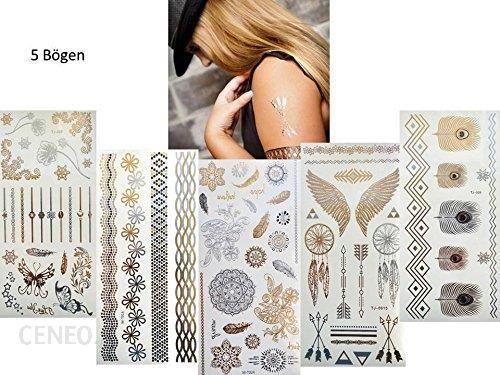 Amazon Jednorazowe Naklejane Tatuaże Ozdobne 5 Arkuszy Metaliczne Złote I Srebrne Wiele Pięknych Motywów Ceneopl
