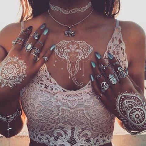 Amazon 6 Arkuszy Białych Tatuaży Henna Naklejki Henna Body Paints Kobiety Dziewczęce Wzory Flash Tattoo Do Vibe Muzyka Festiwale Bohemy Ceneopl