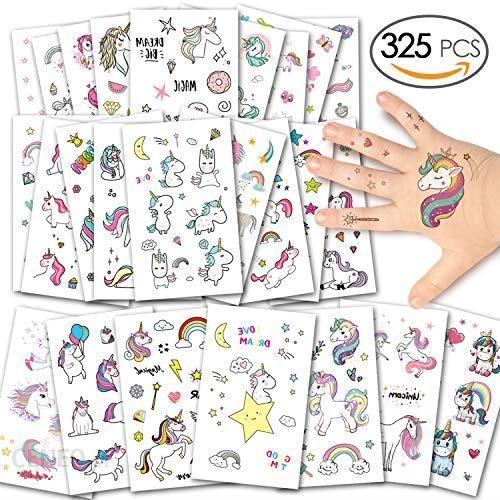Amazon Alintor 285 Sztuk Jednorożec Tatuaże Tymczasowe Tatuaże Na Twarz Jednorożec Naklejki Dla Dzieci Prezenty Dla Dziewcząt Kobiet Dorosłych