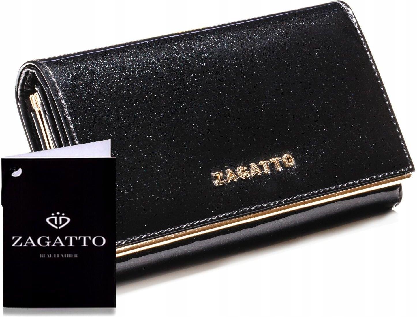 692b80d6c45b7 Markowy skórzany portfel damski Zagatto Rfid black - Ceny i opinie ...