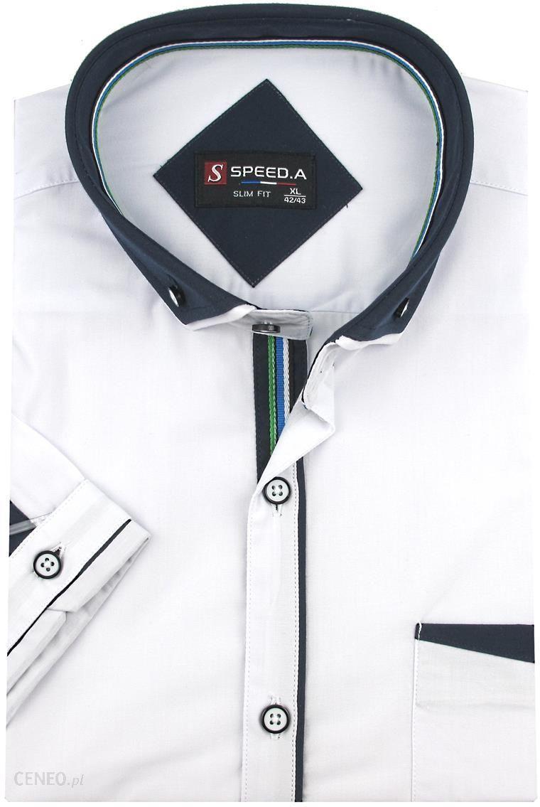 koszule męskie biala slim fit krótki rękaw