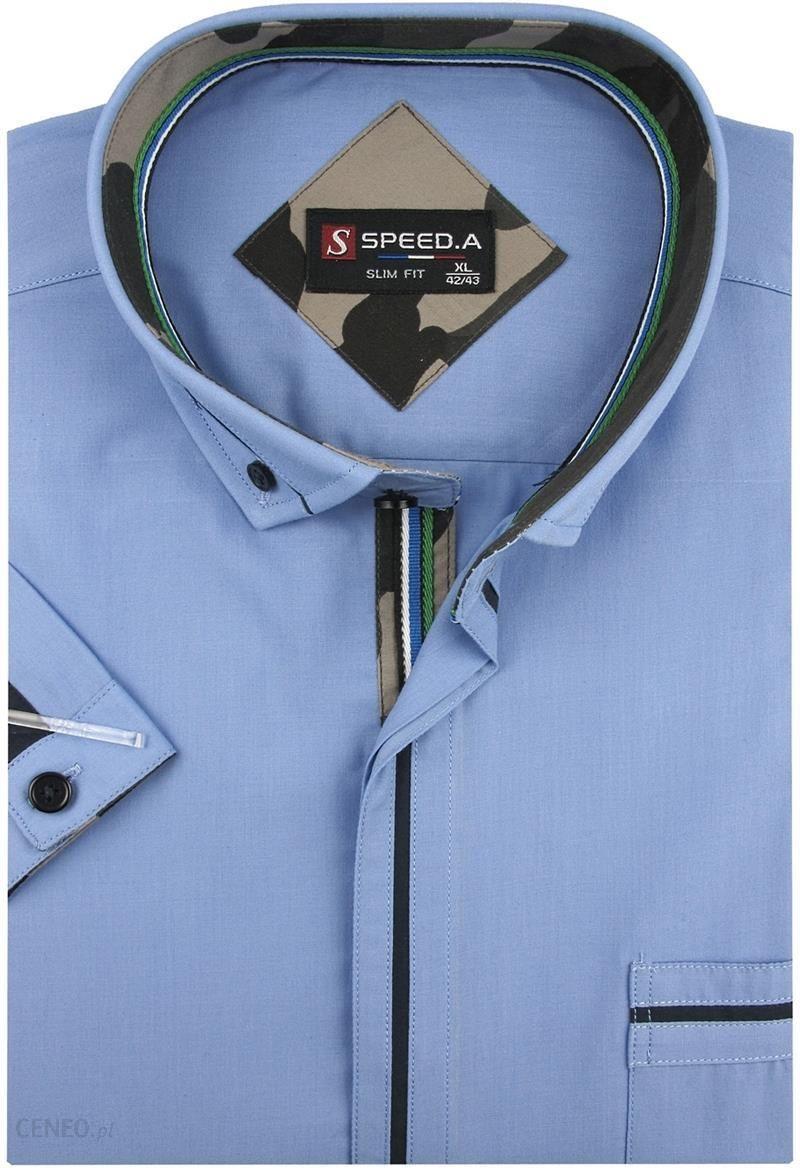 7cabe2a8d62b8d Koszula Męska Speed.A gładka niebieska SLIM FIT na krótki rękaw K642 - 45/
