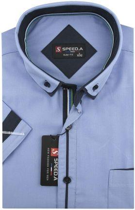 8b2449ad4129 Koszula Męska Speed.A gładka niebieska SLIM FIT z podwójnym kołnierzykiem na  krótki rękaw K708