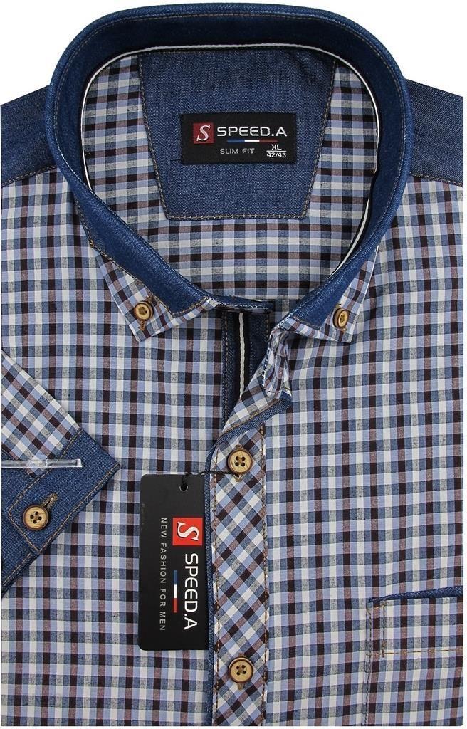 Koszula Męska Speed.A granatowo brązowa kratka z dodatkami jeans na krótki rękaw duże rozmiary K742 4950 Ceny i opinie Ceneo.pl