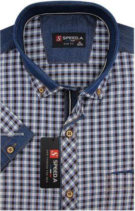 5535bbd5f6d6cf Koszula Męska Speed.A granatowo - brązowa kratka z dodatkami jeans na  krótki rękaw duże