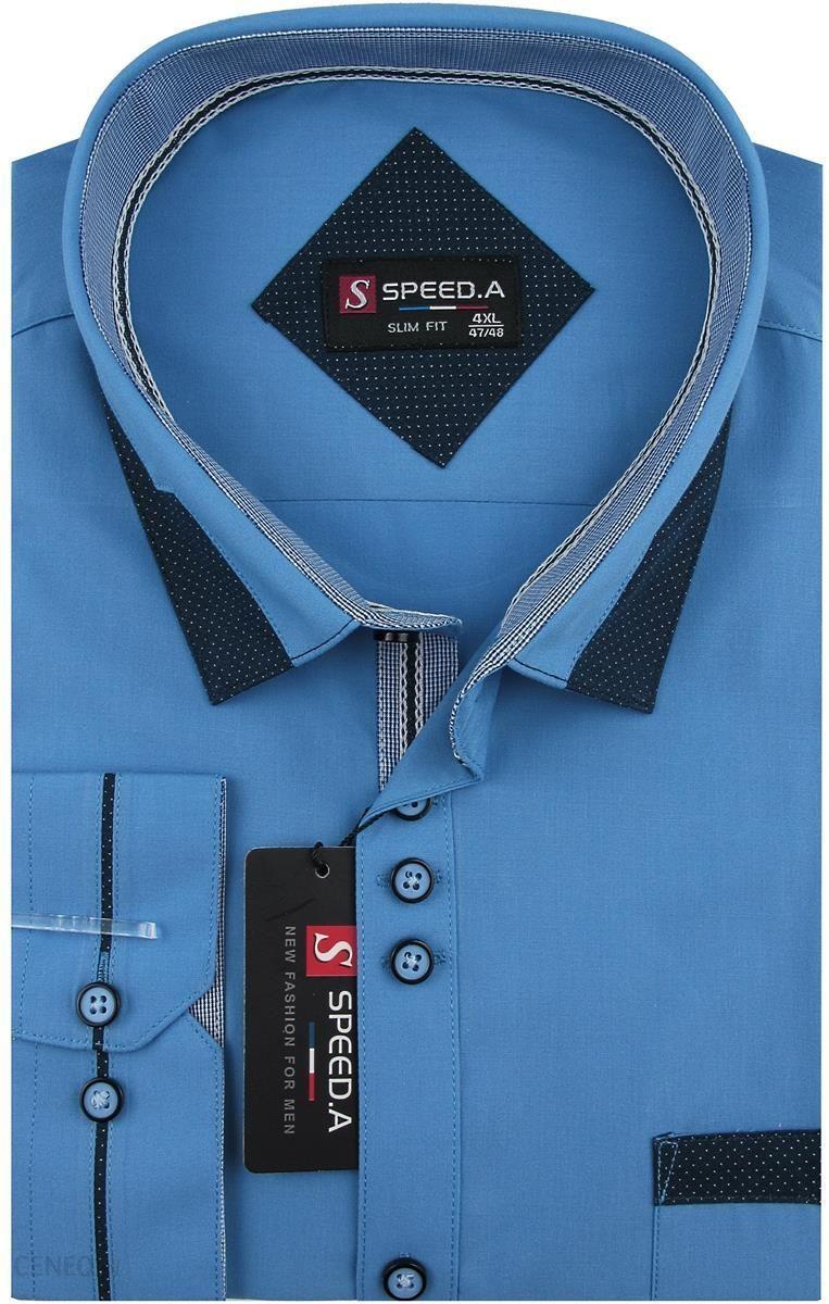 3a8efb062fa0ae Koszula Męska Speed.A gładka niebieska na długi rękaw duże rozmiary D880 -  53/